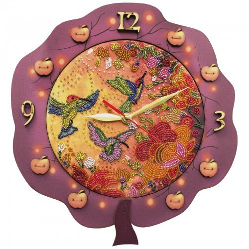 """Набір для створення годинника з вишитою основою """"Райські птахи"""""""