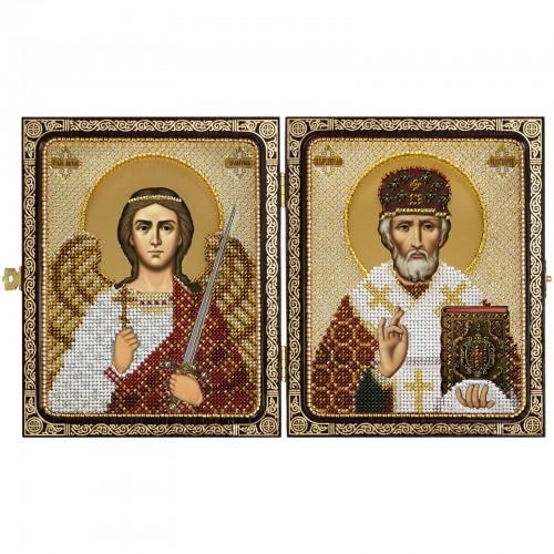 """Набір для вишивки ікони в рамці-складні"""" Миколай Чудотворець і Ангел Хранитель"""""""