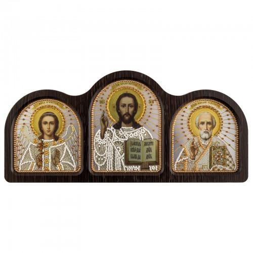 """Набір для вишивки ікони у фігурній рамці  """"Триптих настільний срібло (Ангел Хранитель, Спаситель, Миколай Чудотворець)"""""""