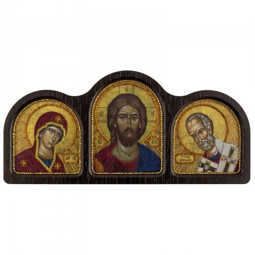 """Набір для вишивки ікони у фігурній рамці   """"Триптих Богородиця, Спаситель, Миколай Чудотворець"""""""