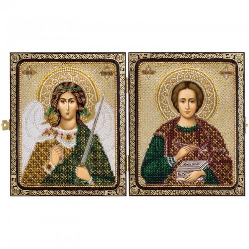 """Набір для вишивки ікони в рамці-складні """"Св.Вмч.Целитель Пантелеимон  и Ангел Хранитель"""""""