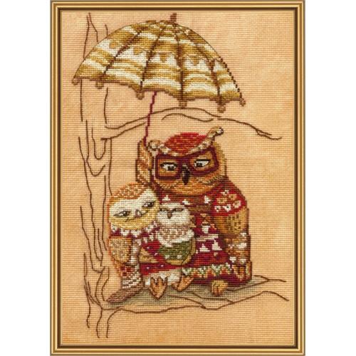 """Набір для вишивки нитками на канві з фоновим зображенням """"Під парасолькою"""""""