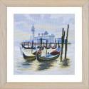 """Набор для вышивки нитками на канве с фоновым изображением """"Пристань в Венеции"""""""