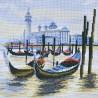 """Набір для вишивки нитками на канві з фоновим зображенням """"Пристань у Венеції"""""""