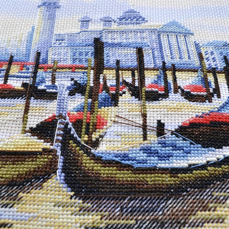 """Nova Sloboda - Набір для вишивки нитками на канві з фоновим зображенням """"Пристань у Венеції"""" / фото №121"""