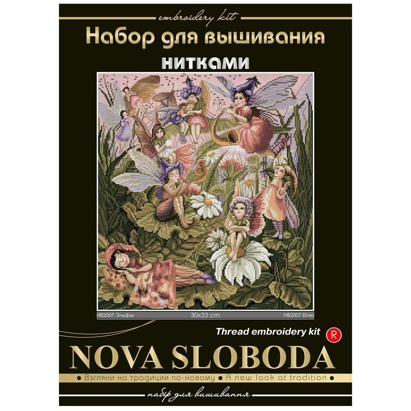 """Nova Sloboda - Набор для вышивки нитками на белой канве с разметкой мононитью """"Эльфы"""" / фото №1524"""