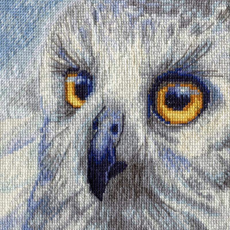 """Nova Sloboda - Набор для вышивки нитками на белой канве с разметкой мононитью """"Полярная сова"""" / фото №1537"""