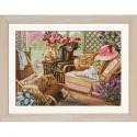 """Наборы для вышивки нитками и бисером на канве с фоновым изображением """"Летняя веранда"""""""