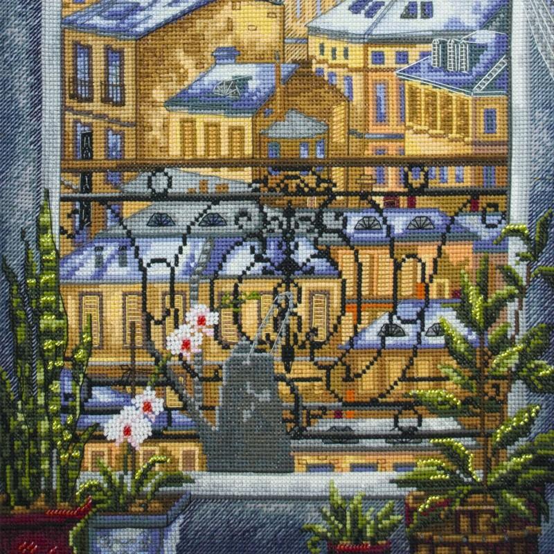 """Nova Sloboda - Набір для вишивки нитками та бісером """"Вікно у місто"""" / фото №1564"""