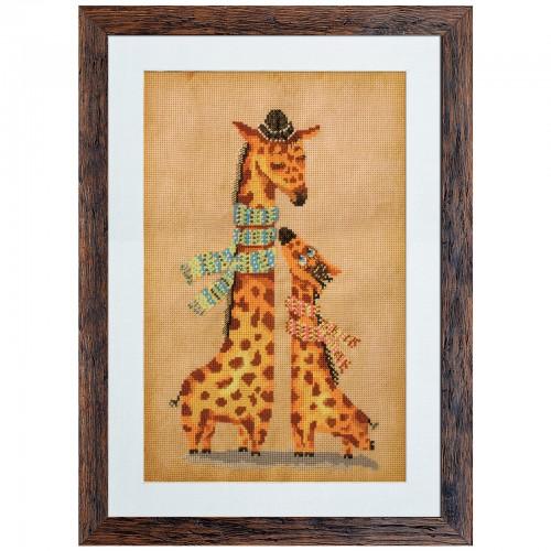 """Набор для вышивки нитками и бисером на канве с нанесенным фоновым изображением """"Жирафики"""""""