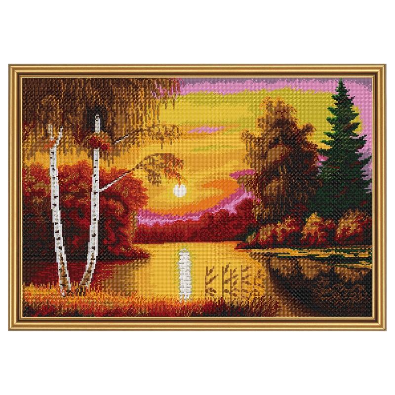 """Nova Sloboda - Тканина зi схемою для вишивки бiсером """"Червоний захід сонця"""" / фото №1715"""