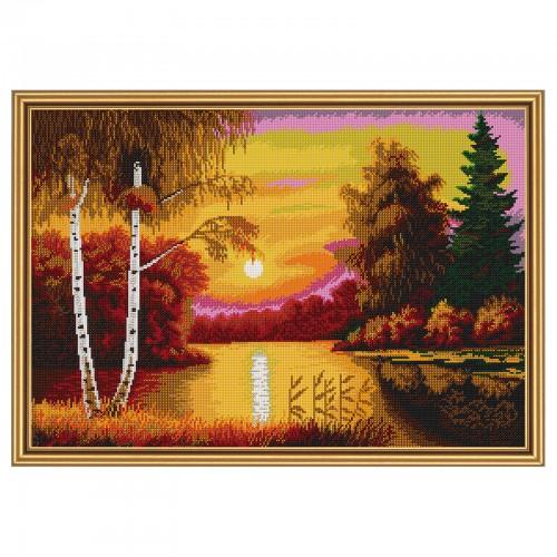"""Тканина зi схемою для вишивки бiсером """"Червоний захід сонця"""""""