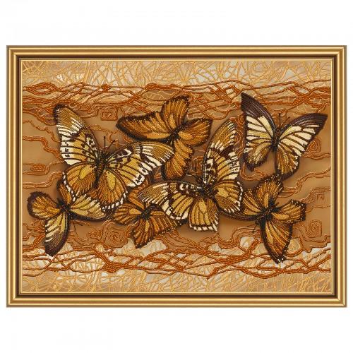 """Ткань со схемой для вышивки бисером """"Полет бабочек"""""""