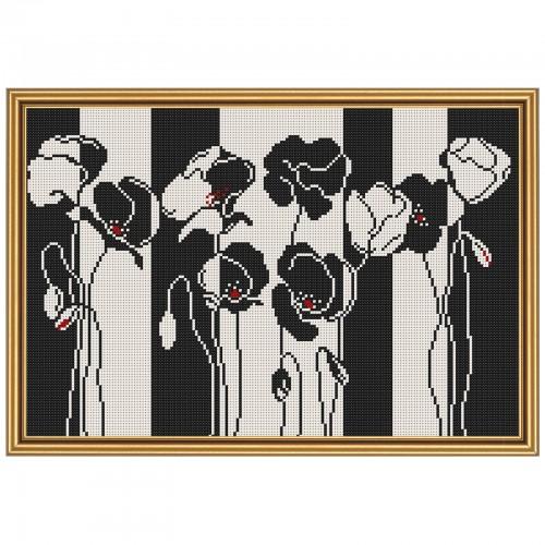 """Ткань со схемой для вышивки бисером """"Черно-белые цветы"""""""
