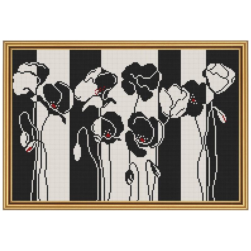 """Тканина зi схемою для вишивки бiсером """"Чорно-білі квіти"""""""