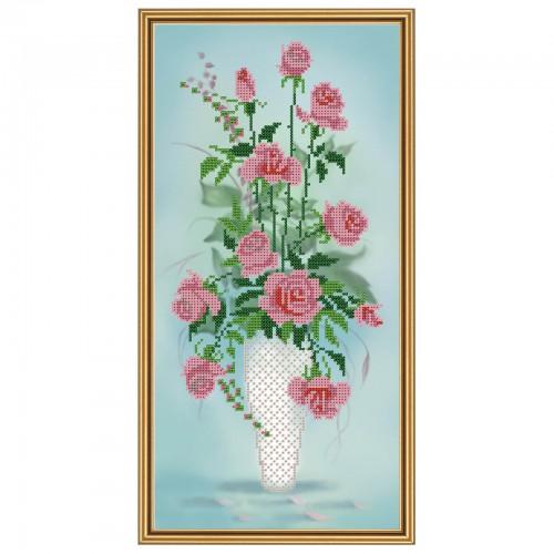 """Ткань со схемой для вышивки бисером """"Амфора. Букет роз"""""""