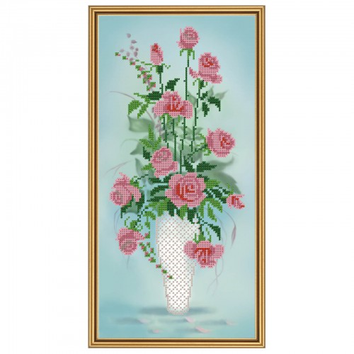 """Тканина зi схемою для вишивки бiсером """"Амфора. Букет троянд"""""""