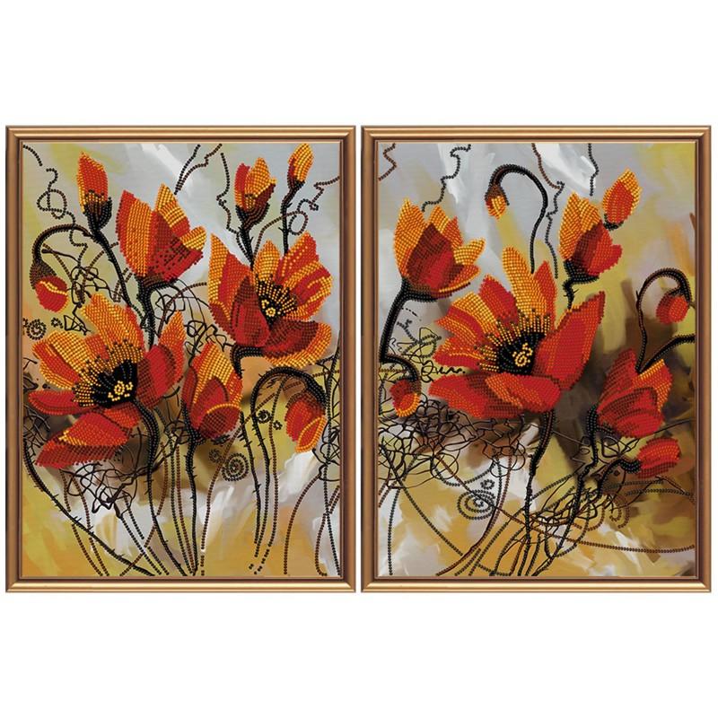 """Тканина зi схемою для вишивки бiсером """"Вогняні квіти"""""""