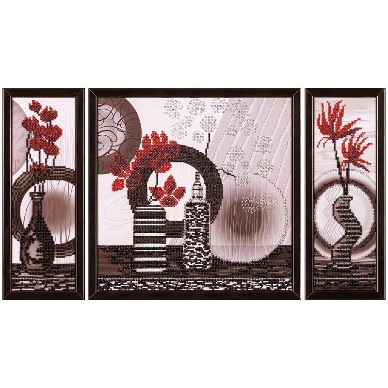 """Тканина зi схемою для вишивки бiсером """"Червоні квіти"""""""