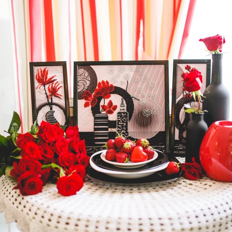 """Nova Sloboda - Тканина зi схемою для вишивки бiсером """"Червоні квіти"""" / фото №1767"""