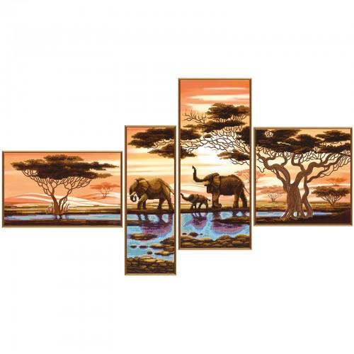 """Тканина зi схемою для вишивки бiсером """"Африканські слони"""""""