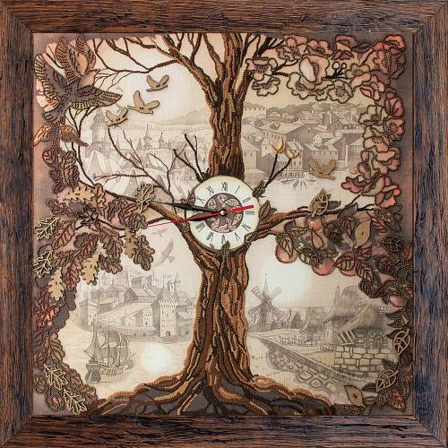 """Набор для створення годинників з вишитою основою """"Дерево-годинник."""""""