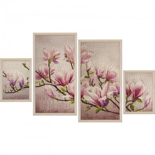 """Набір для вишивки нитками на канві з фоновим зображенням """"Магнолія Суланжа"""""""
