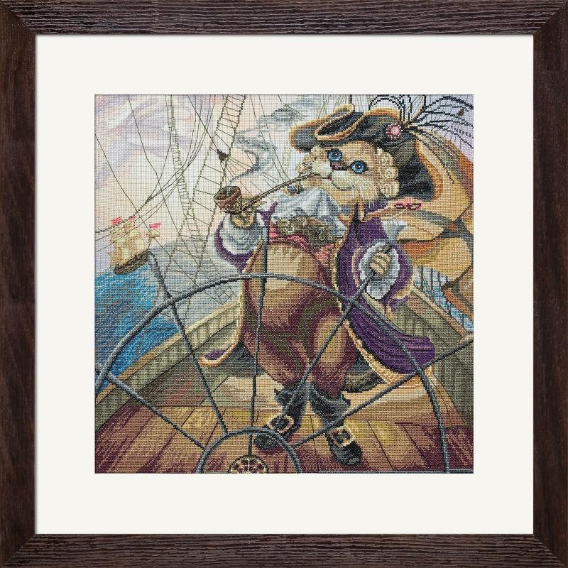 """Набір для вишивки нитками на канві з фоновим зображенням """"Капітан"""""""