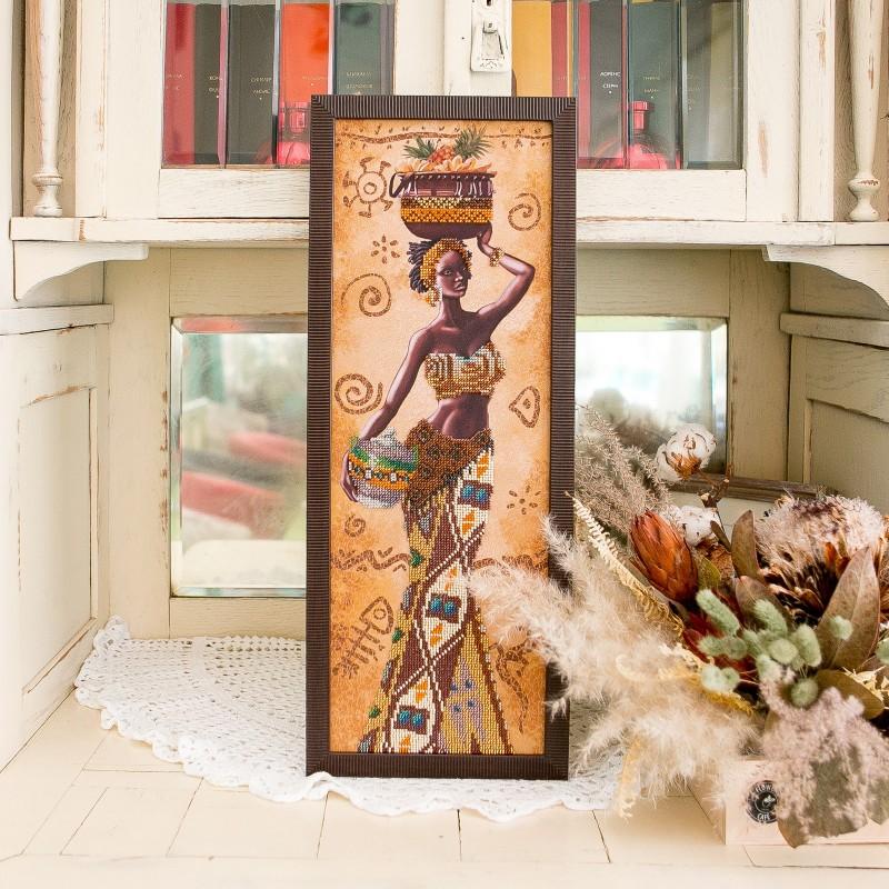 """Nova Sloboda - Набір для вишивки бісером """"Африканка з фруктами"""" / фото №2207"""