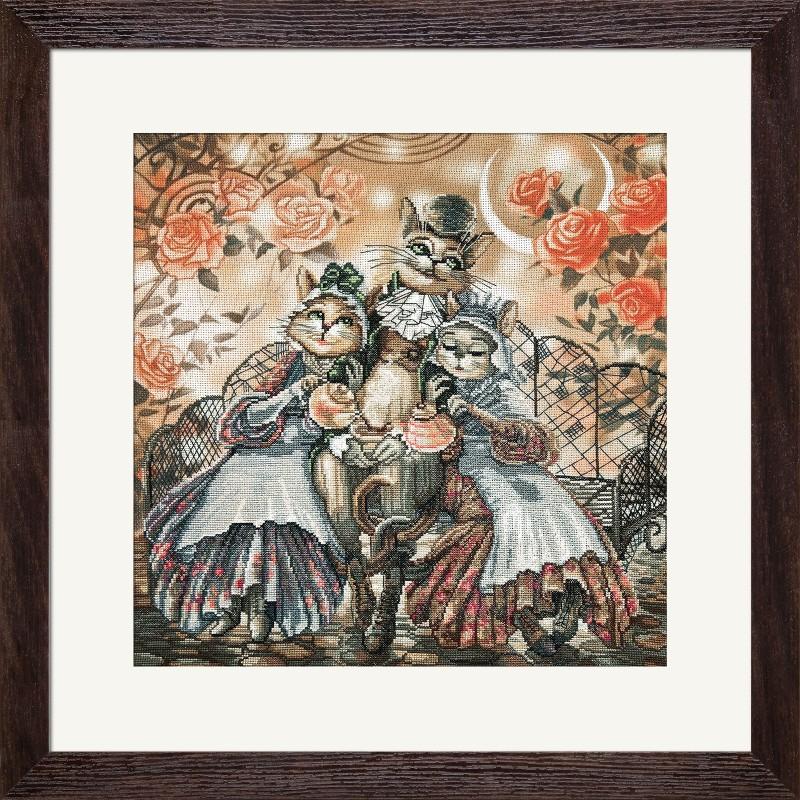 """Набір для вишивки нитками на канві з фоновим зображенням """"Дружнє сімейство"""""""
