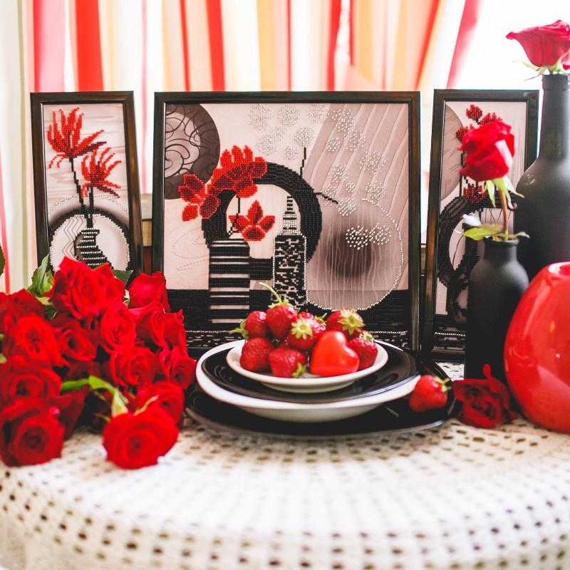 """Nova Sloboda - Набір для вишивки бісером """"Червоні квіти"""" / фото №2243"""