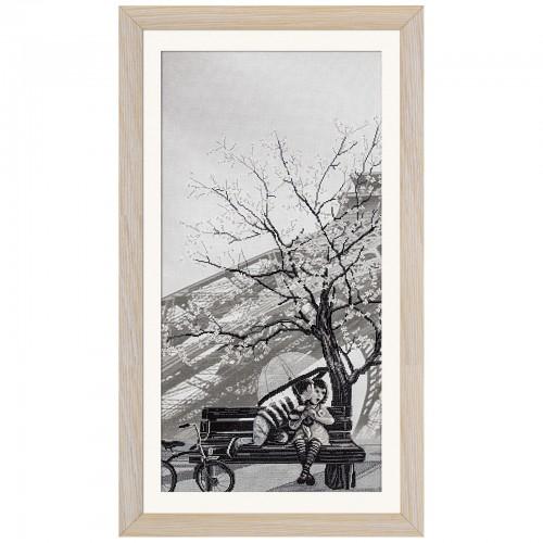 """Набір для вишивки нитками на канві з фоновим зображенням """"Париж - місто кохання. Юність"""""""