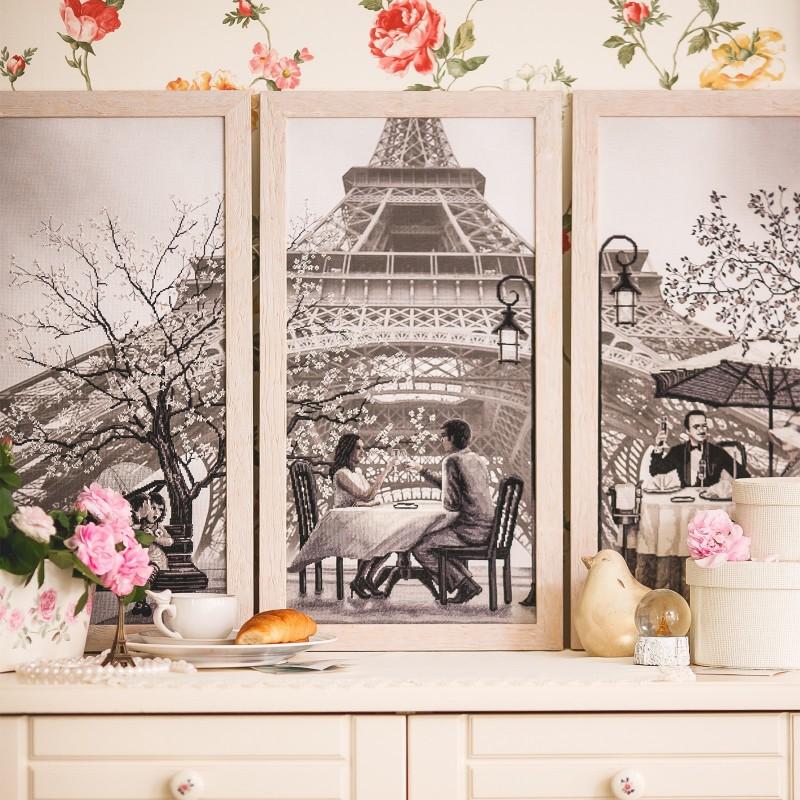 """Nova Sloboda - Набор для вышивки нитками на канве с фоновым изображением """"Париж - город любви. Юность"""" / фото №2306"""