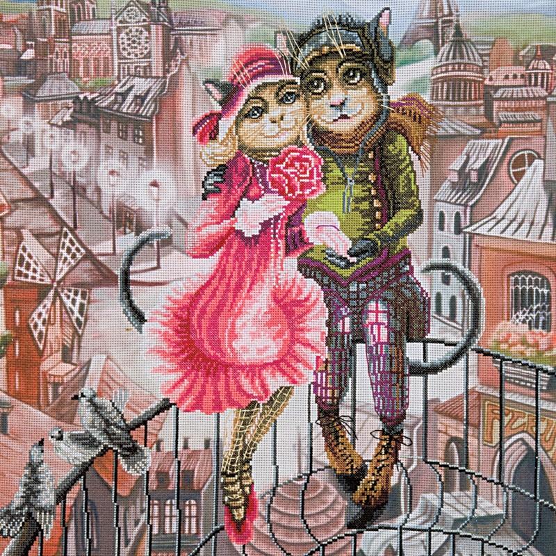 """Nova Sloboda - Набір для вишивки нитками на канві з фоновим зображенням """"Кохання у Парижі"""" / фото №231"""