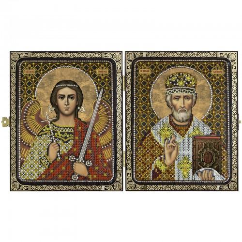 """Набор для вышивки иконы в рамке-складне """"Николай Чудотворец и Ангел Хранитель"""""""