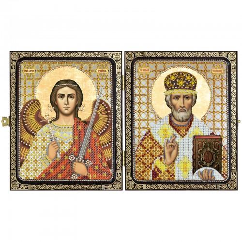 """Набір для вишивки ікони в рамці-складні """"Миколай Чудотворець і Ангел Хранитель"""""""