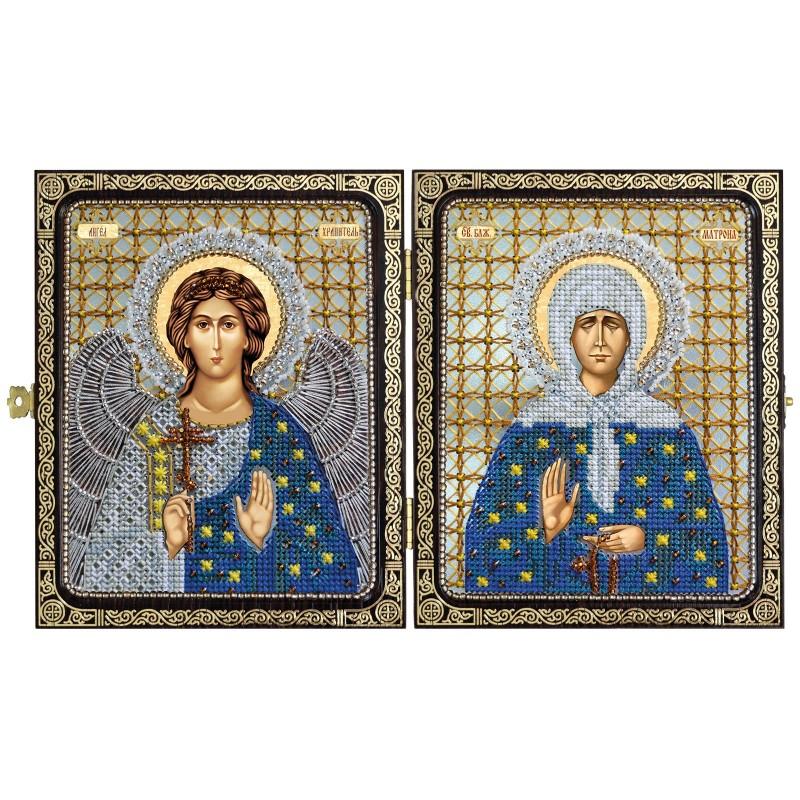 """Набор для вышивки иконы в рамке-складне """" Св. Прав. старица Матрона Московская и Ангел Хранитель"""