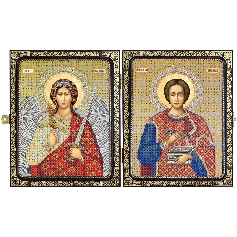 """Набір для вишивки ікони в рамці-складні """"Св.Вмч.Целитель Пантелеймон і Ангел Хранитель"""""""