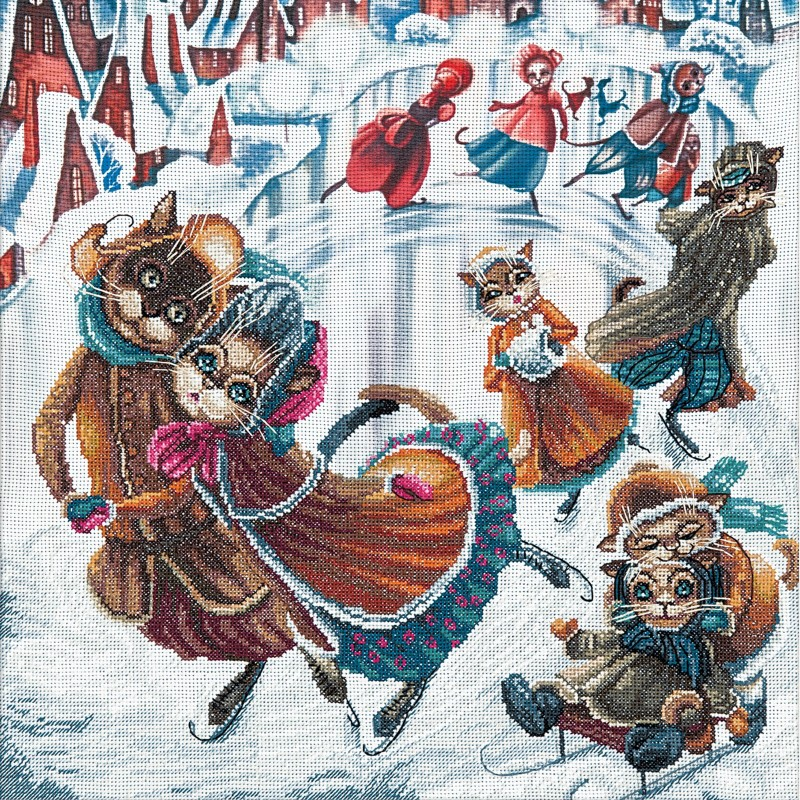 """Nova Sloboda - Набір для вишивки нитками на канві з фоновим зображенням """"На ковзанці"""" / фото №249"""
