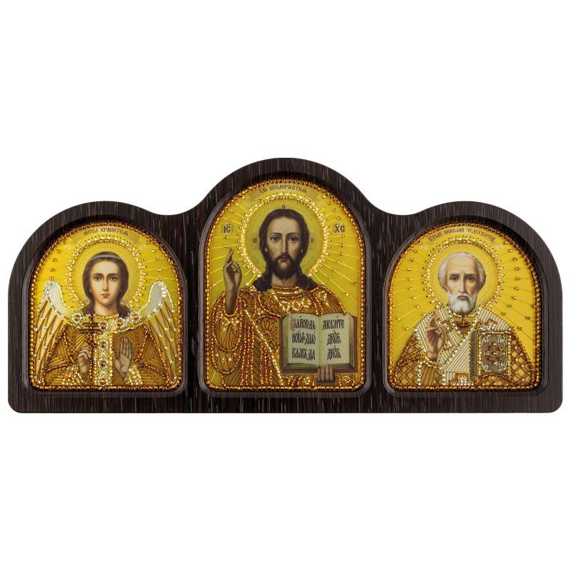 """Набор для вышивки иконы в фигурной рамке """"Триптих Настольный золото(Ангел Хранитель, Спаситель, Николай Чудотворец)"""""""