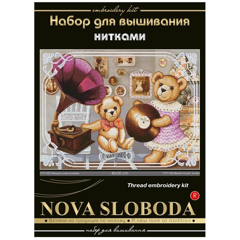 """Nova Sloboda - Набір для вишивки нитками на канві з фоновим зображенням """"Ведмедики-меломани"""" / фото №251"""