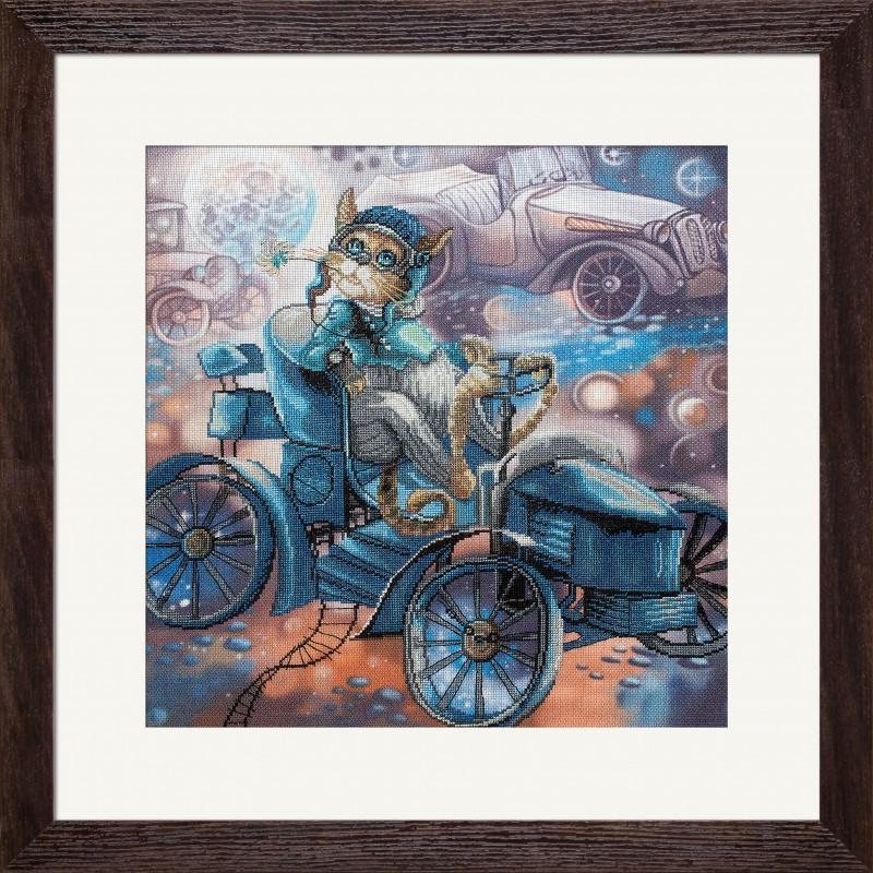 """Nova Sloboda - Набор для вышивки нитками на канве с фоновым изображением """"Кот и Де Дион"""" / фото №2640"""