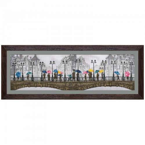 """Набір для вишивки нитками на канві з фоновим зображенням """"Яскравий дощ"""""""