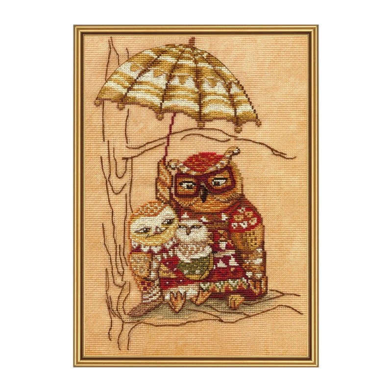 """Набор для вышивки нитками на канве с фоновым изображением """"Под зонтом"""""""