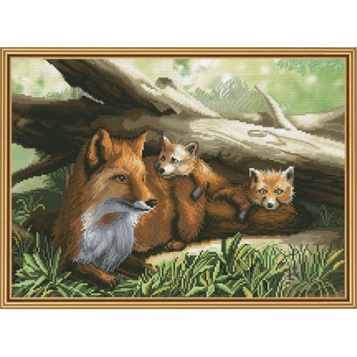 """Набір для вишивки нитками на канві з фоновим зображенням """"Руде сімейство"""""""