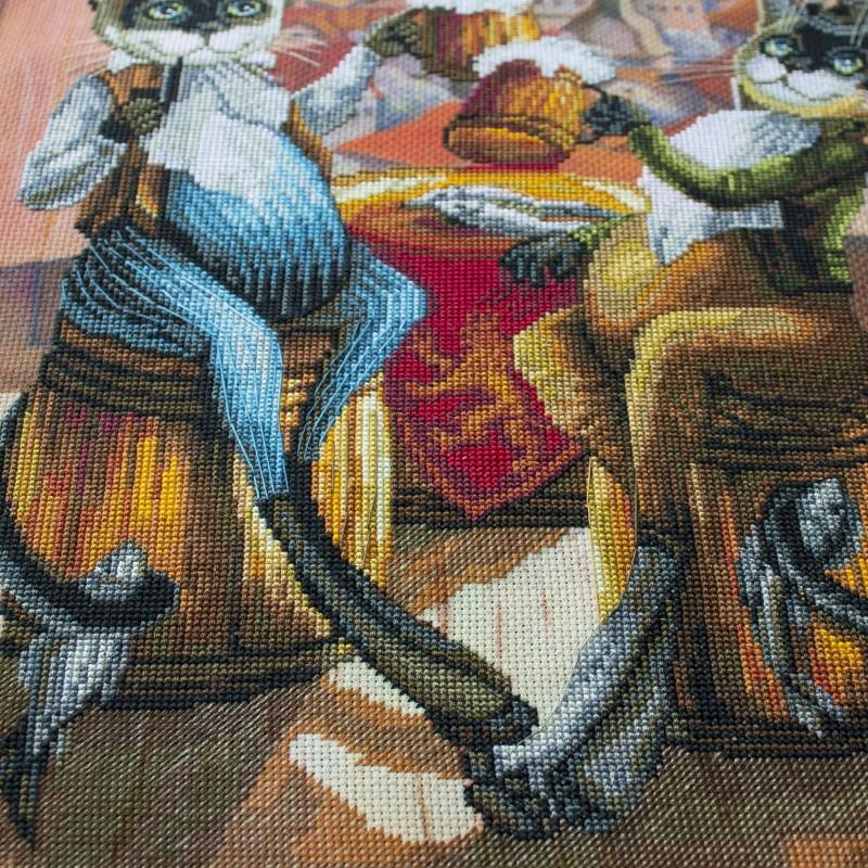 """Nova Sloboda - Набір для вишивки нитками на канві з фоновим зображенням """"Любителі пива"""" / фото №281"""