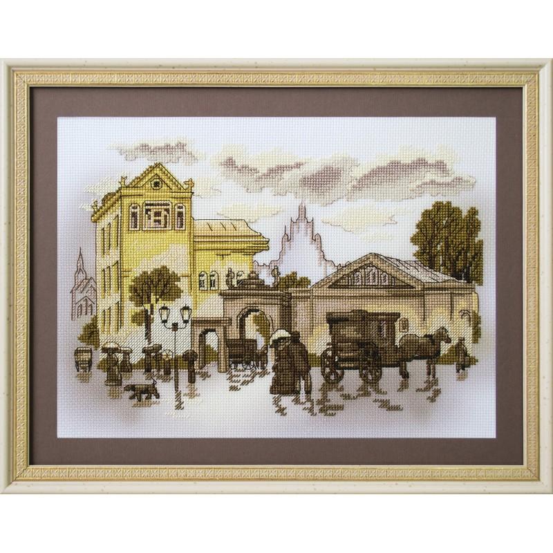 """Набор для вышивки нитками на канве с фоновым изображением """"Городские зарисовки. Театральная площадь"""""""