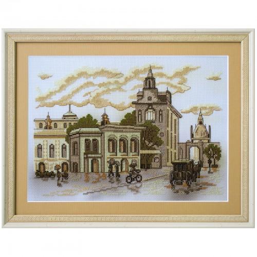 """Набор для вышивки нитками на канве с фоновым изображением """"Городские зарисовки. У филармонии"""""""