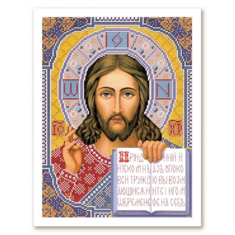 """Nova Sloboda - Тканина зi схемою для вишивки ікони бiсером """"Христос Спаситель"""" / фото №2836"""