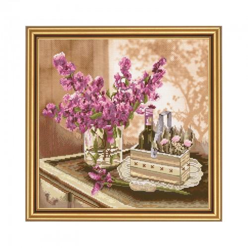 """Набор для вышивки нитками на канве с фоновым изображением """"Июньское утро"""""""